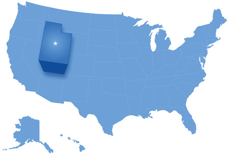 pulled: Political map of United States with all states where Utah is pulled out
