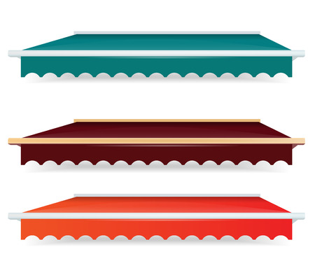 awnings: EPS Vector 10 - Colorful set of single color awnings