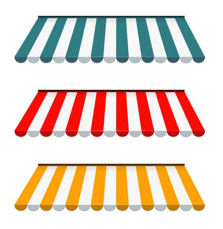EPS のベクトル 10 - ストライプの日よけのカラフルなセット  イラスト・ベクター素材