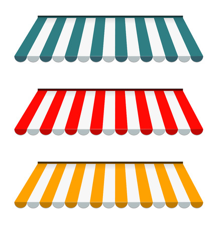 awnings: EPS Vector 10 - Colorful set of striped awnings