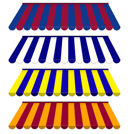 EPS Vector 10 - Colorful set of striped awnings Vector