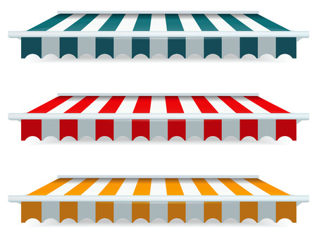 eatery: EPS Vector 10 - Colorful set of striped awnings