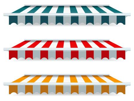 EPS Vector 10 - conjunto de colores de los toldos a rayas Foto de archivo - 23973621