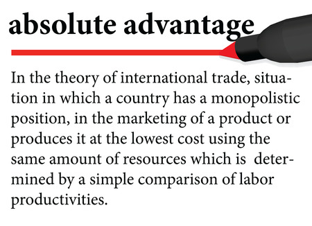 absolute: Illustration of dictionary definition of the term  absolute advantage  isolated on white background. Gradient mesh elements included. EPS 10 Vector. Illustration