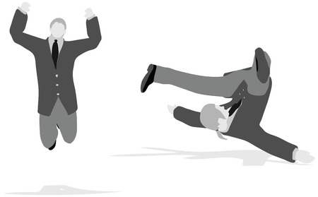 banana peel: Vector Illustration of business man jumping and falling in the air
