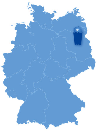 Political map of Germany with all states where Berlin is pulled out Vector
