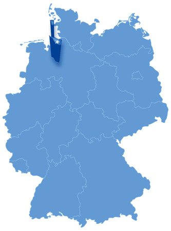 bremen: Political map of Germany with all states where Bremen (Freie Hansestadt Bremen) is pulled out Illustration