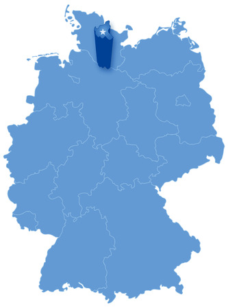 pulled: Political map of Germany with all states where Hamburg (Freie und Hansestadt Hamburg) is pulled out
