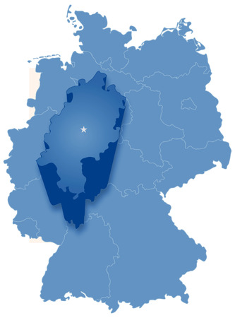 Political map of Germany with all states where Hesse (Hessen) is pulled out Illustration