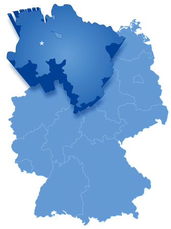 Political map of Germany with all states where Lower Saxony is pulled out Vector
