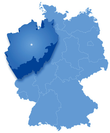 federated: Political map of Germany with all states where North Rhine-Westphalia (Nordrhein-Westfalen) is pulled out