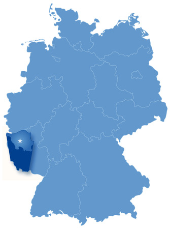 pulled: Political map of Germany with all states where Saarland is pulled out Illustration