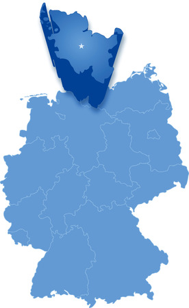 federated: Political map of Germany with all states where Schleswig-Holstein is pulled ou Illustration