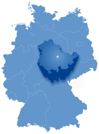 pulled: Political map of Germany with all states where Thuringia is pulled out
