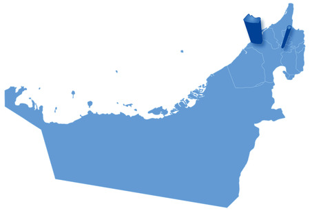 Political map of United Arab Emirates with all Emirates where Ajman is pulled out