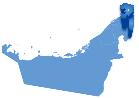 pulled: Political map of United Arab Emirates with all Emirates where Fujairah is pulled out