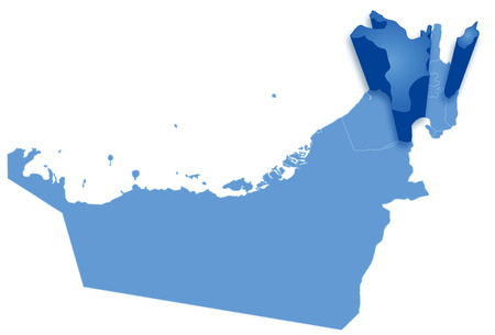 pulled: Political map of United Arab Emirates with all Emirates where Sharjah is pulled out   Illustration