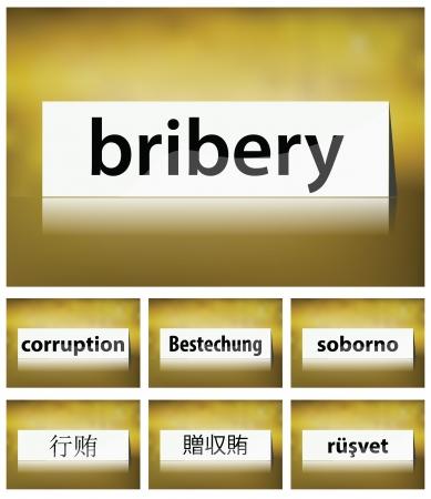 bestechung: Illustration von Bestechung Konzept auf wei�em Hintergrund in sieben Sprachen