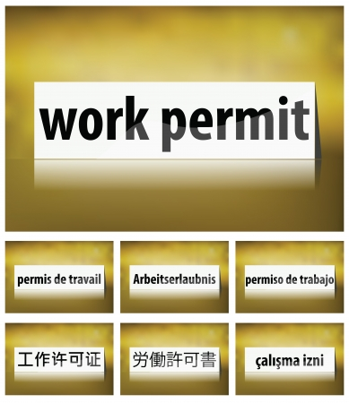 permit: Illustration of Work Permit Concept on white background in seven languages Illustration