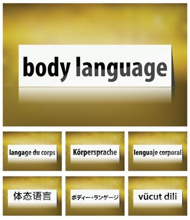 Ilustración de Body Language concepto sobre fondo blanco en siete idiomas