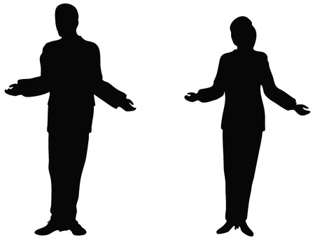silhoutte: Business people standing up explaining.