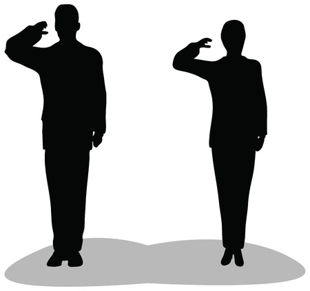Business man and woman give salute isolated on white background. military businessman saluting