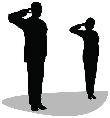 салют: Бизнес мужчина и женщина дают салют на белом фоне. военный бизнесмен приветствуя Иллюстрация