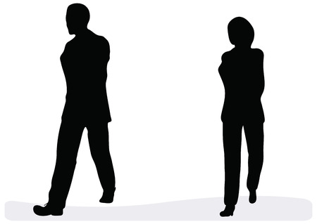 EPS 10 Vector. Business man and woman walking - isolated over a white background. Vector