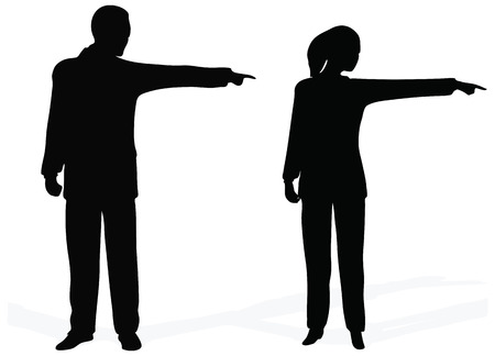 rear view girl: Side view of bsuiness people pointing out at copyspace, over white background Illustration