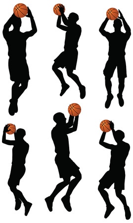 basketball players silhouette collection in shoot position Vector
