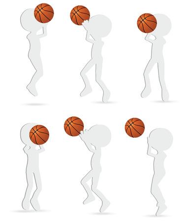sparare: raccolta di giocatori di basket silhouette in posizione di tiro
