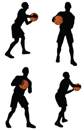 basketball players silhouette collection in pass position