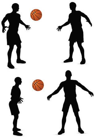 EPS 10 vector basketball players silhouette collection Stock Vector - 24959204
