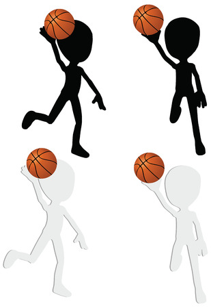 EPS 10 vector basketball players silhouette collection in slam position