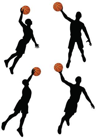 EPS 10 vecteur collection de joueurs de basket de silhouette en position slam Banque d'images - 24959208