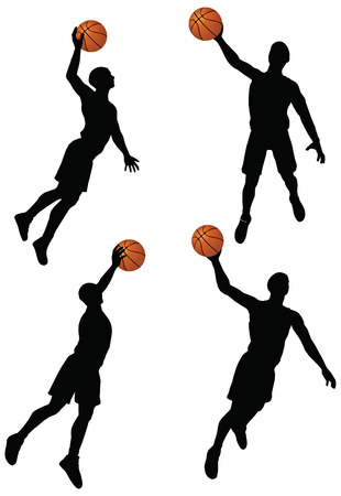 EPS 10 vector basketball players silhouette collection in slam position  Stock Vector - 24959208
