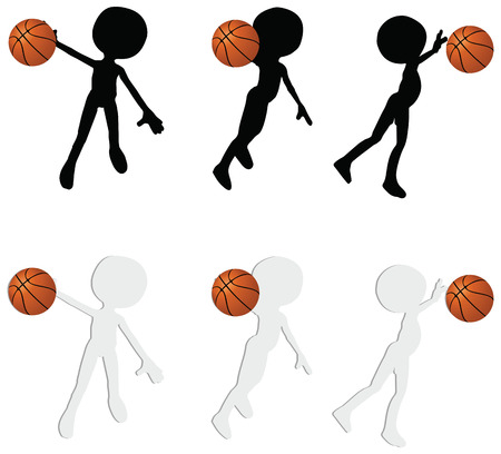 EPS 10 vector basketball players silhouette collection in slam position Stock Vector - 24959209