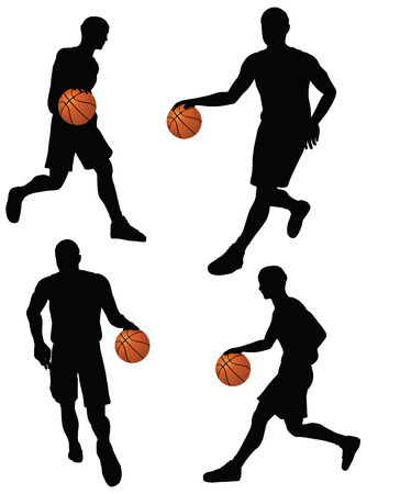 nba: EPS 10 vector basketball players silhouette collection in dribble position   Illustration
