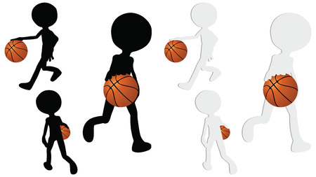 EPS 10 vector basketball players silhouette collection in dribble position