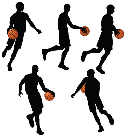 EPS 10 vector basketball players silhouette collection in dribble position   Illustration