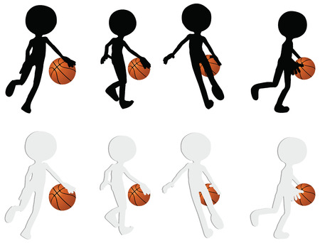 basketball players silhouette collection in dribble position  Illustration