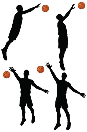 EPS 10 vector basketball players silhouette collection in block position Stock Vector - 24959116