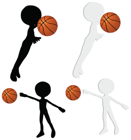 EPS 10 vector basketball players silhouette collection in block position Illustration