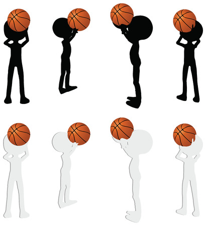 EPS 10 vector basketball players silhouette collection in free throw position