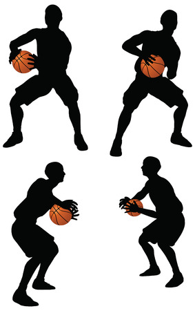 EPS 10 vector basketball players silhouette collection in hold position Stock Vector - 24959123