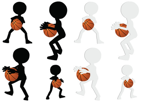 EPS 10 vector basketball players silhouette collection in hold position