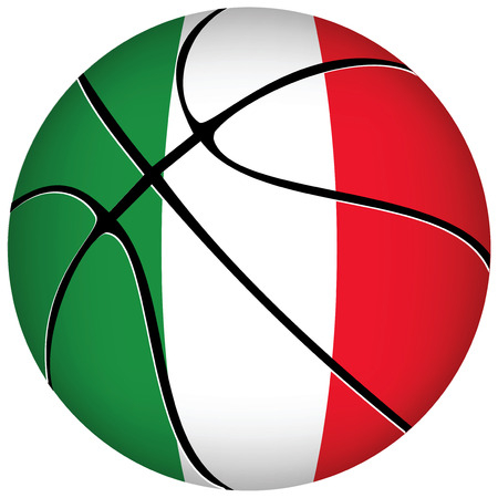 3D basket ball with Italian flag on white.