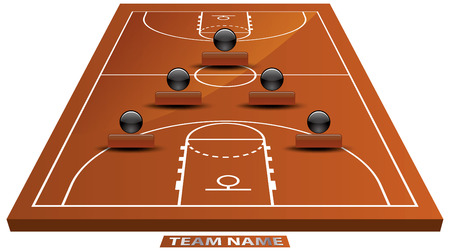Vector illustration of 3d basketball court. Vector