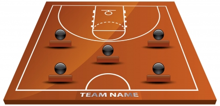 Vector illustration of 3d basketball court.