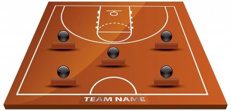 Vector illustration of 3d basketball court. Vector